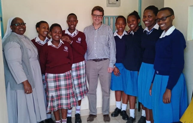 Mr FitzHerbert Birkenhead School with Sister Jane and students at Maria Immaculata School in Kenya